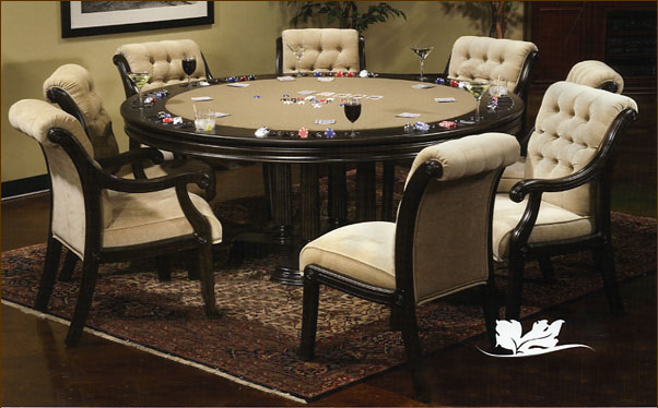 Contemporary custom poker dining game tables chairs for Dining room game table